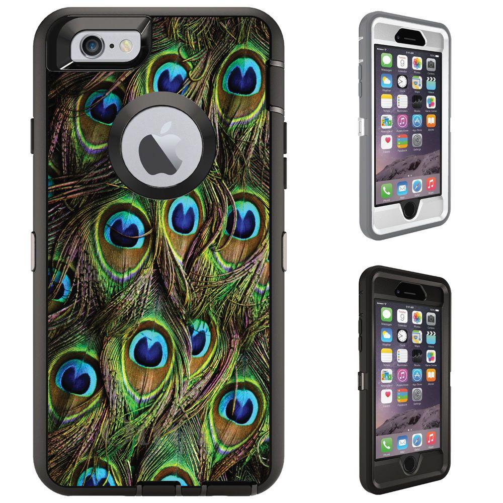 Custom otterbox defender for iphone 6 6s plus peacock
