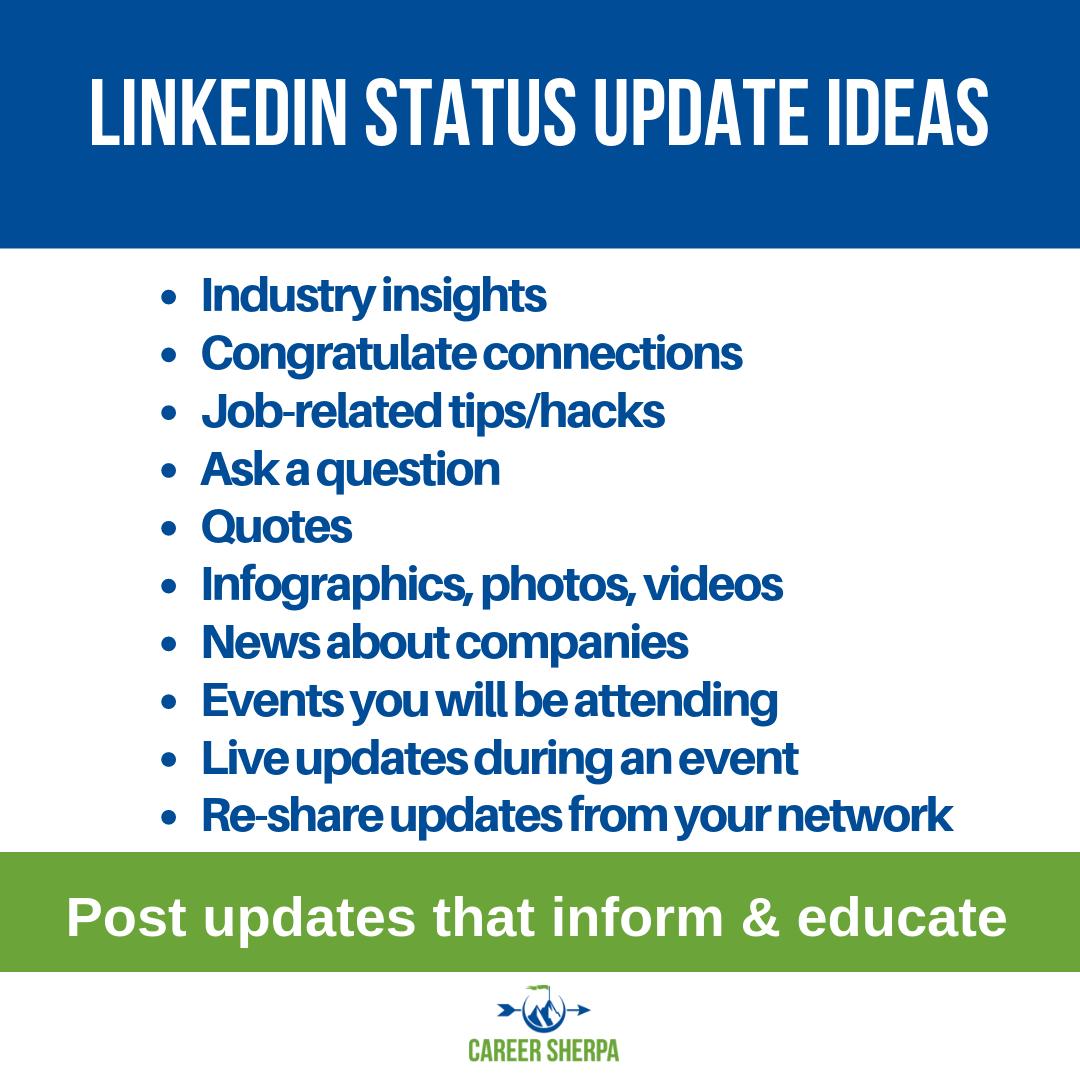 10 LinkedIn Status Updates For Job Seekers Linkedin help