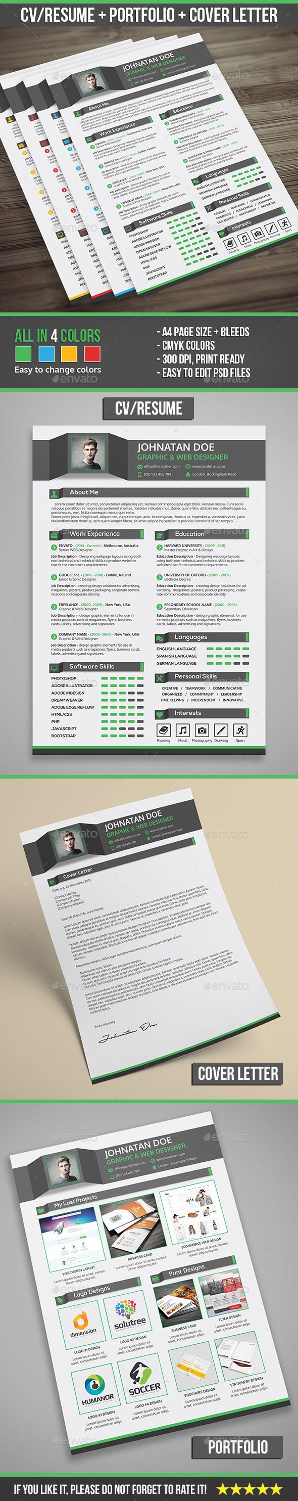 Creative Professional Resume CV + Cover Letter + Portfolio | Cv ...