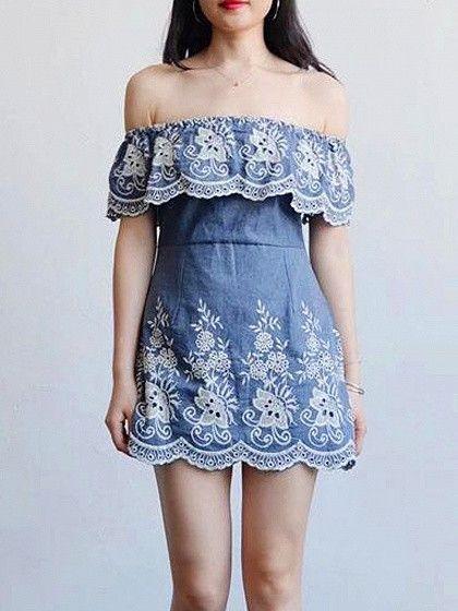 fc45de746 Blue Off Shoulder Embroidery Ruffle Denim Mini Dress