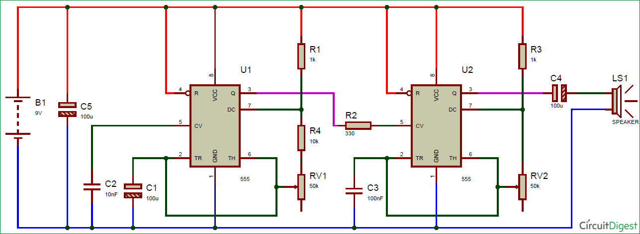 ding dong door bell using 555 timer circuit diagram electronicding dong door bell using 555 timer circuit diagram