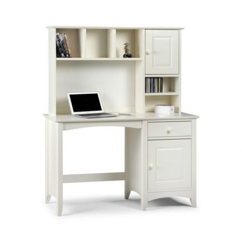 Julian Bowen Cameo Desk Hutch A Stone White Lacquered Shaker Style With Storage And Good