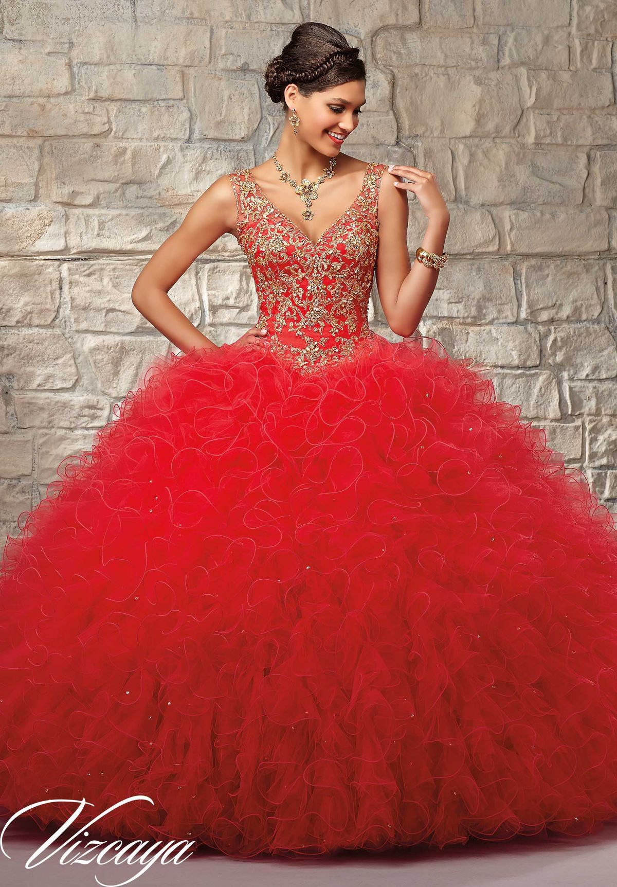 Red with gold dress dresses quinceanera pinterest gold