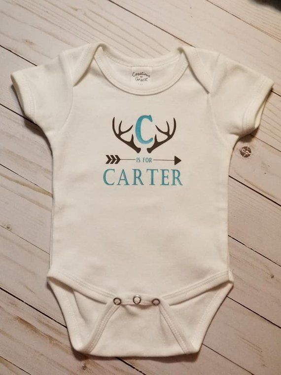 Photo of Personalized baby bodysuit, Monogram,Antlers,Hunting,baby boy, baby girl, baby shower, going home,infant