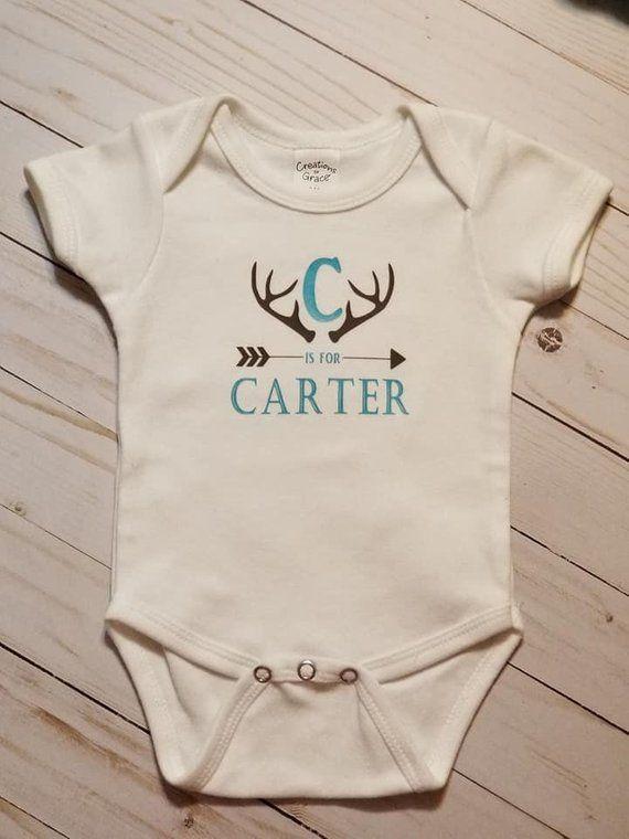 Personalized baby bodysuit, Monogram,Antlers,Hunting,baby ...