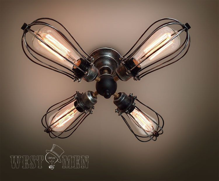 Decorative Star Ceiling Light Semi Flush Bathroom Fixture: Globe 4 Lights Cage Semi Flush Mount Ceiling Light