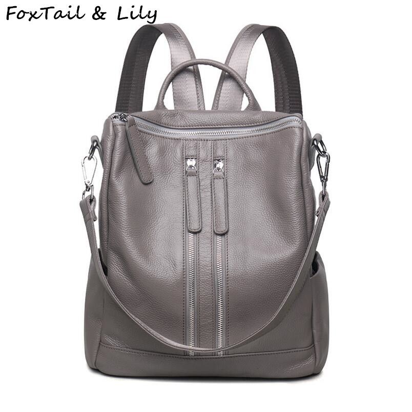 d3e4fd67da FoxTail   Lily Brand Genuine Leather Backpack Women Practical Casual  Shoulder Bag Trendy Teenager Girl School