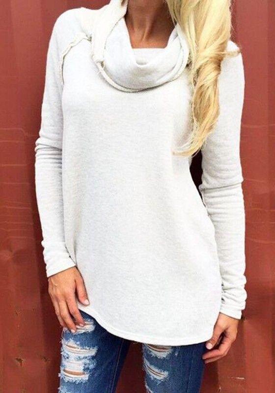 White Plain Ruffle Collar Long Sleeve Casual Pullover Sweatshirt