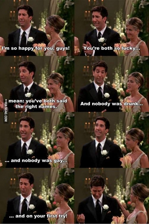 Ross and weddings | Friends scenes, Friends tv show quotes, Friends tv