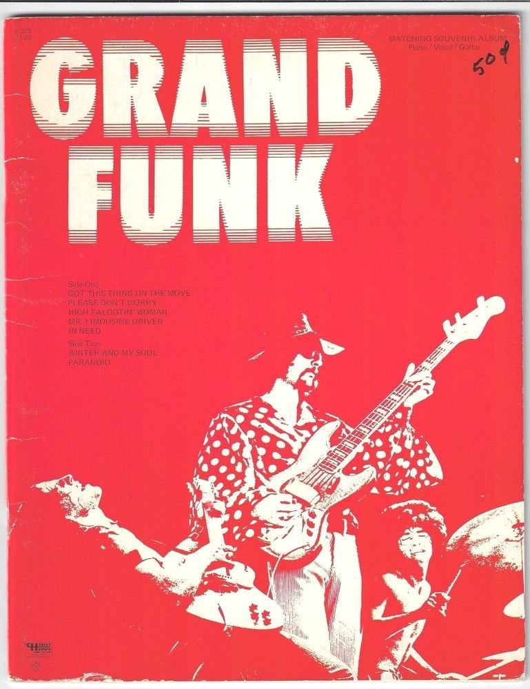 Rare Grand Funk Railroad Sheet Music Songbook Piano Vocal Guitar 1970 Awesome Grand Funk Railroad Song Book Vocal