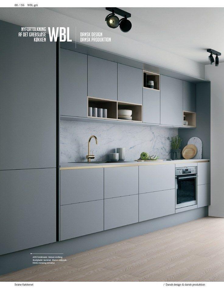Küche. Grau, Matt, Grifflos, Modern, Schlicht.