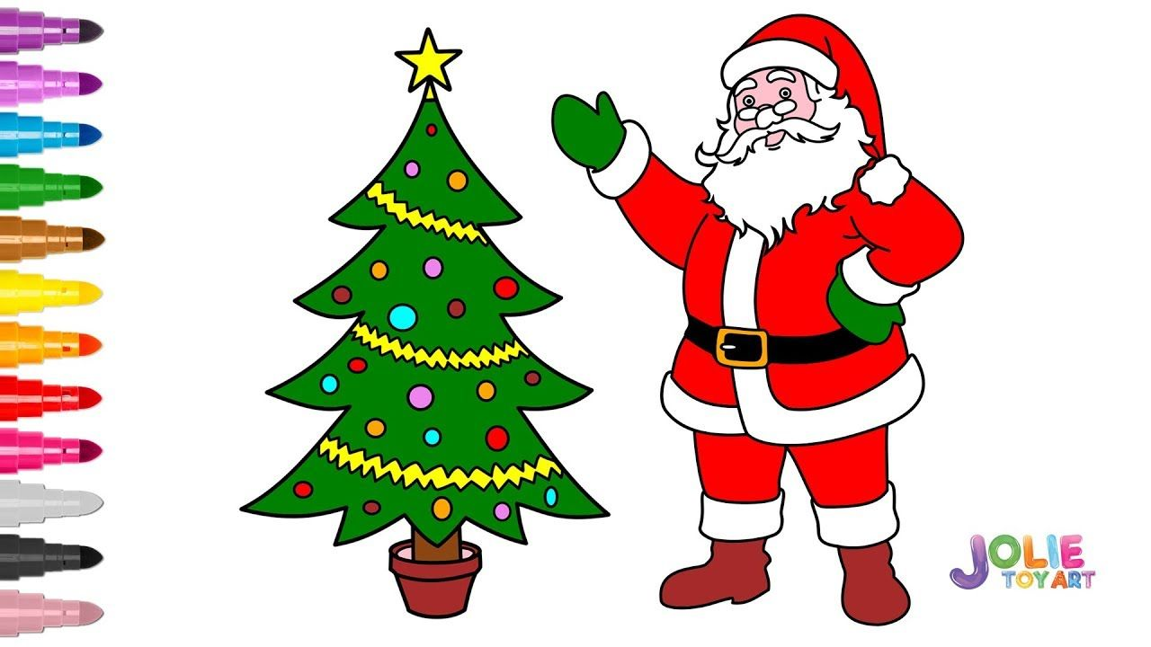 Drawing And Coloring Santa Claus With Christmas Tree Drawing And Color Christmas Tree Drawing Christmas Drawing Tree Drawing