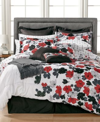 rachelle reversible queen comforter set white ground with red grey and black