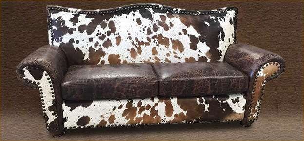 Cheyenne Leather and Longhorn Cowhide Sofa by Double L ...