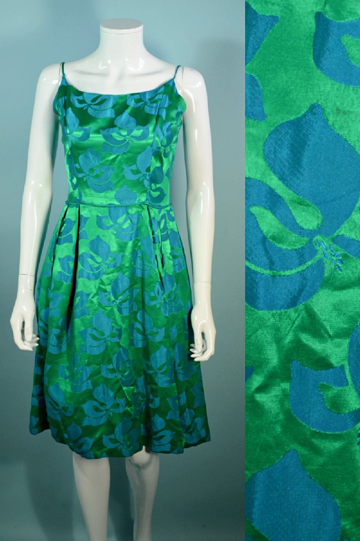 60s green dress  s Green  Blue Floral Spaghetti Strap Party Dress   Products