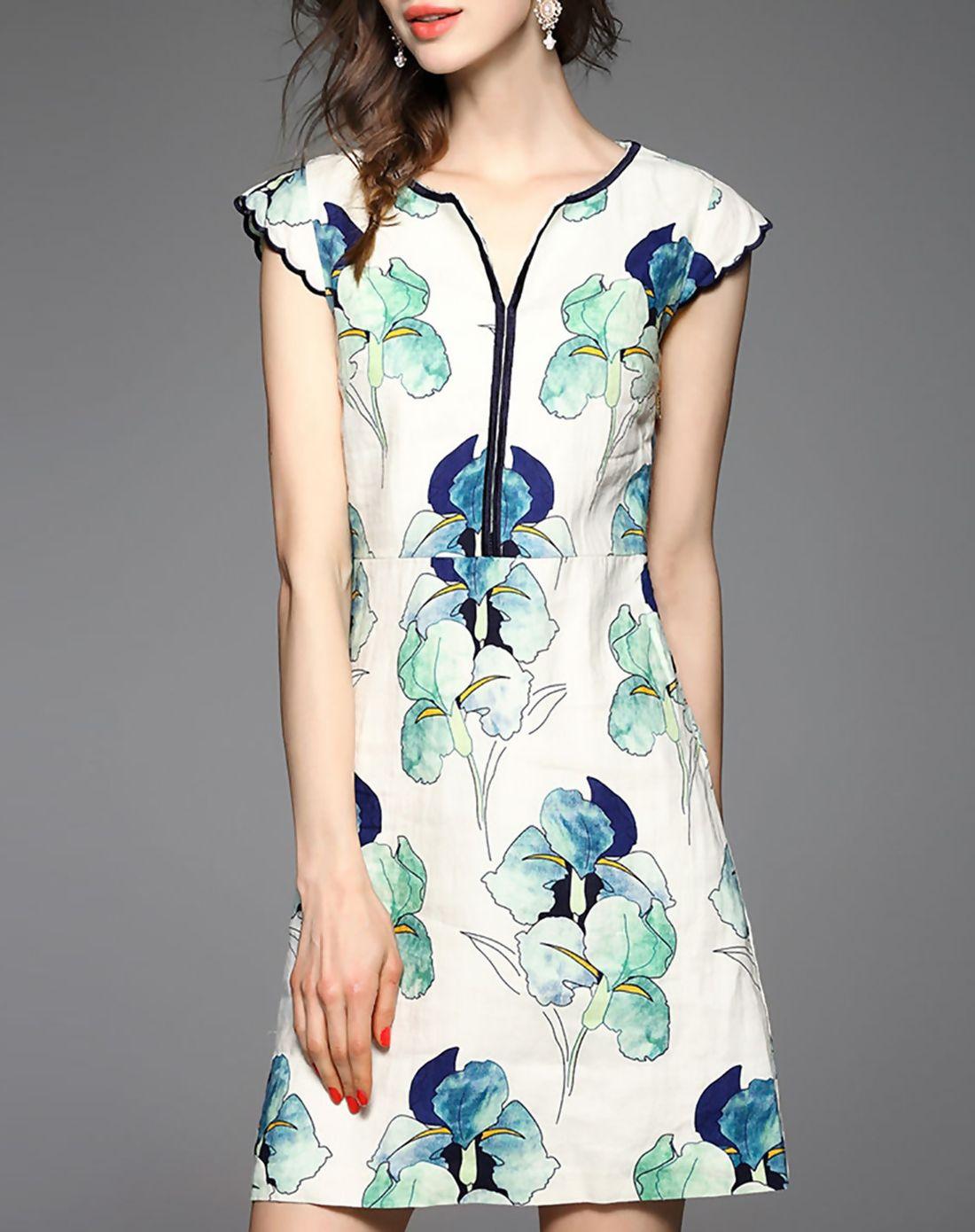 Green dress v neck  White Floral Print Vneck Linen Mini Dress  AdoreWe  Designer