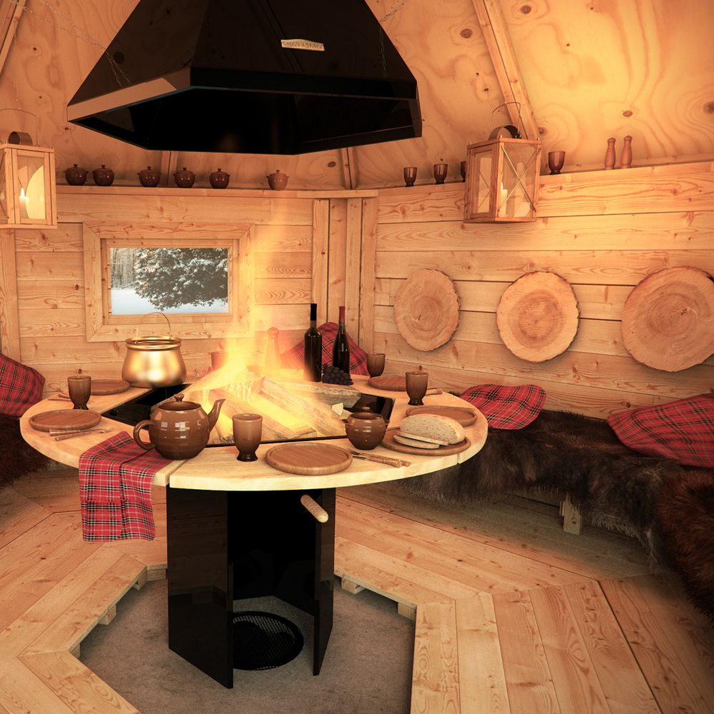 Wooden BBQ Hut Grill House Grillkota Barbecue Winter Summer Garden Log Cabin | eBay
