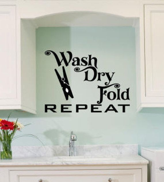 Wash Dry Fold Repeat wall decal-laundry room home decor wall words wall quote sayings removable wall word vinyl decal-0060 & Wash Dry Fold Repeat wall decal-laundry room home decor wall words ...