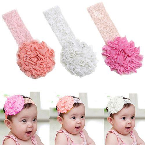 Baby Girls Flower Cute Headband Soft Lace Elastic Band Hairband Hair Accessories