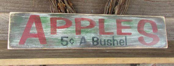 primitive kitchen sign, rustic wood sign , apple sign, hand