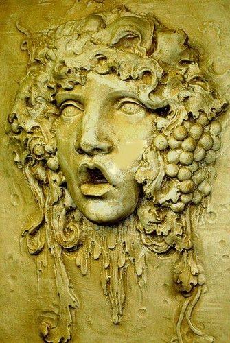 Huge Mythical Sculpture Bacchus Wine God Home Wall Plaque Decor