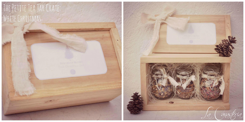 The petite tea jar crate white christmas caja de madera - Cajas de madera para regalo ...