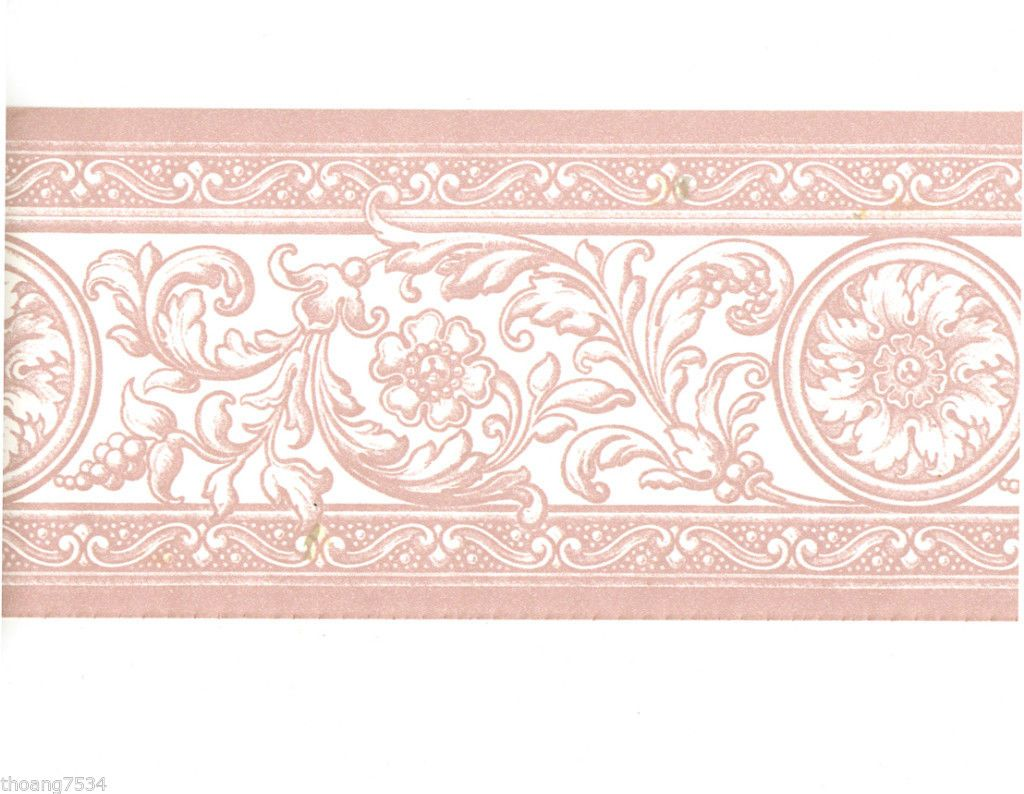 French Damask Pink White Scroll Acanthus Leaf Floral Medallion Wall Paper Border Embossed Wallpaper Wallpaper Border Wallpaper