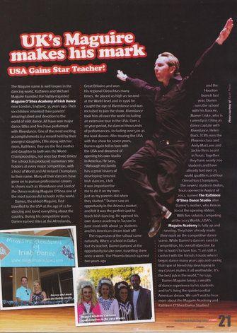 Uk S Maguire Makes His Mark Usa Gains Star Teacher In Irish Dancing Magazine 2013 Irish Dance Dance Teacher