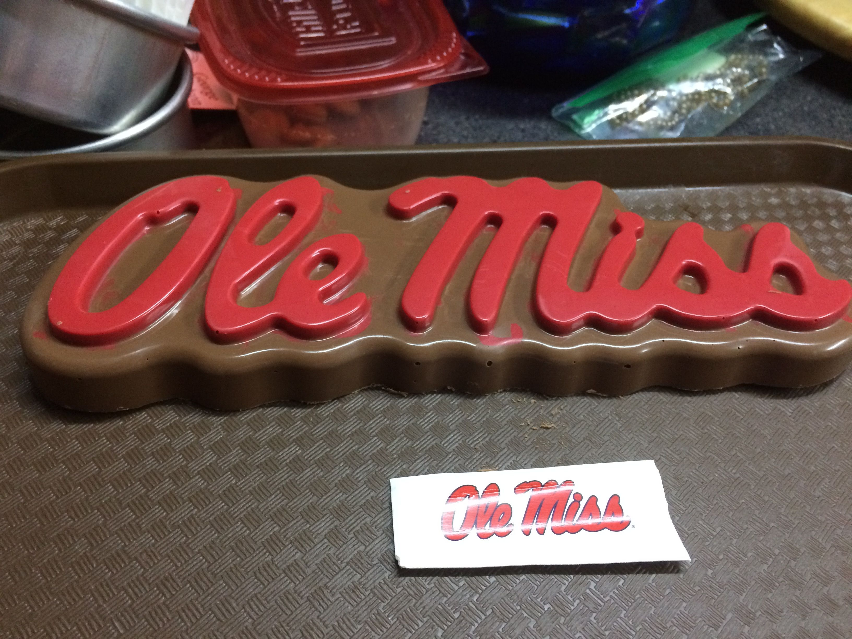 Chocolate cake topper with the ole miss fanpans cake pan