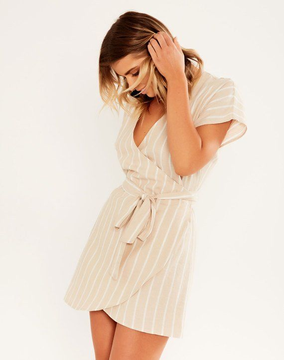 bd24001052 Striped Linen Blend Wrap Dress Beachstone Stripe   Имидж   Dresses ...