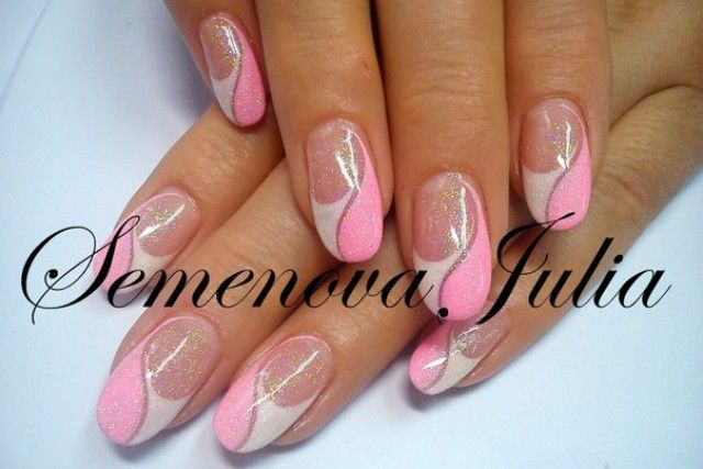 Naildesigne Yulia 2014 Pink + Weiß Oval | Nageldesign ...