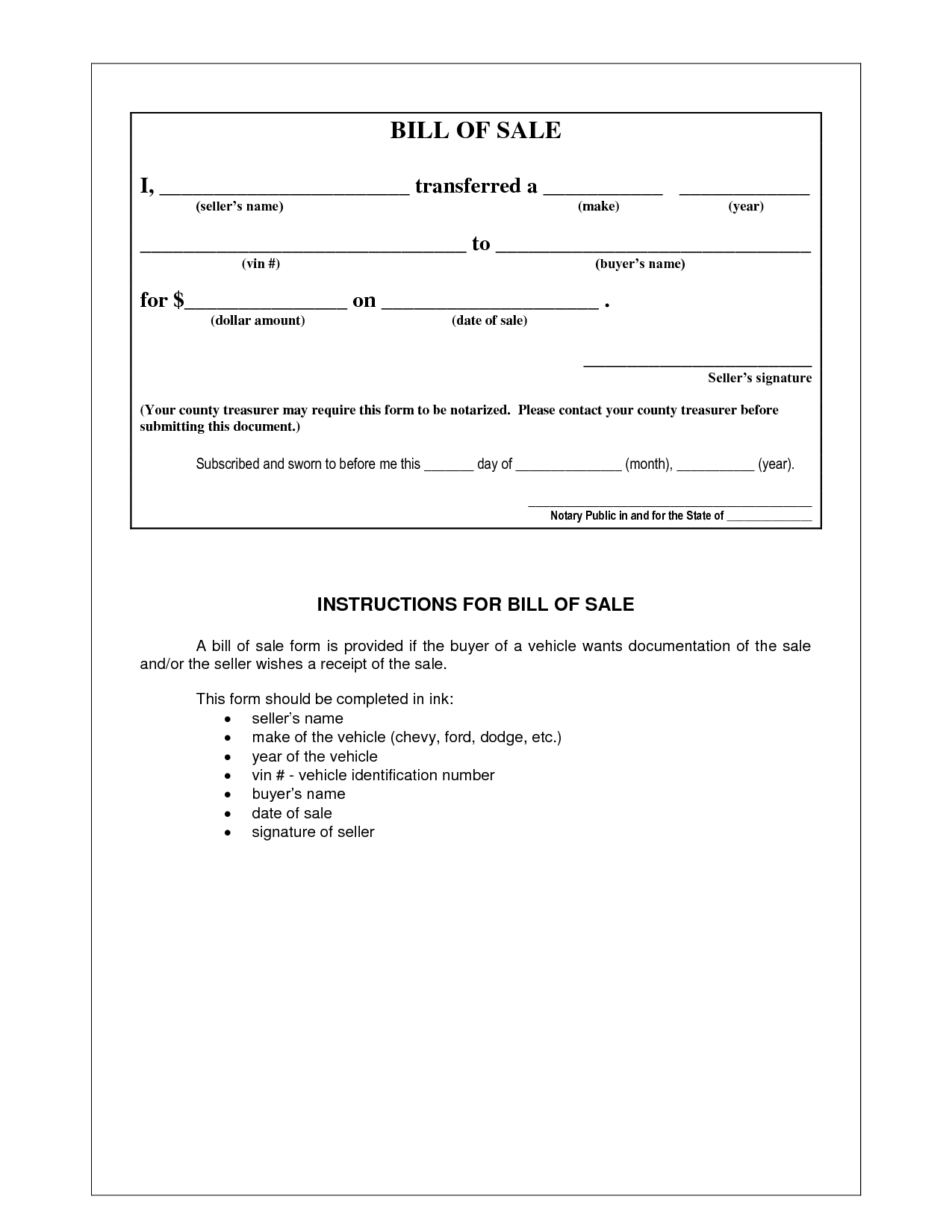 Bill Of Sale Example >> Picture Of Example Bill Of Sale Form Photo Gallery