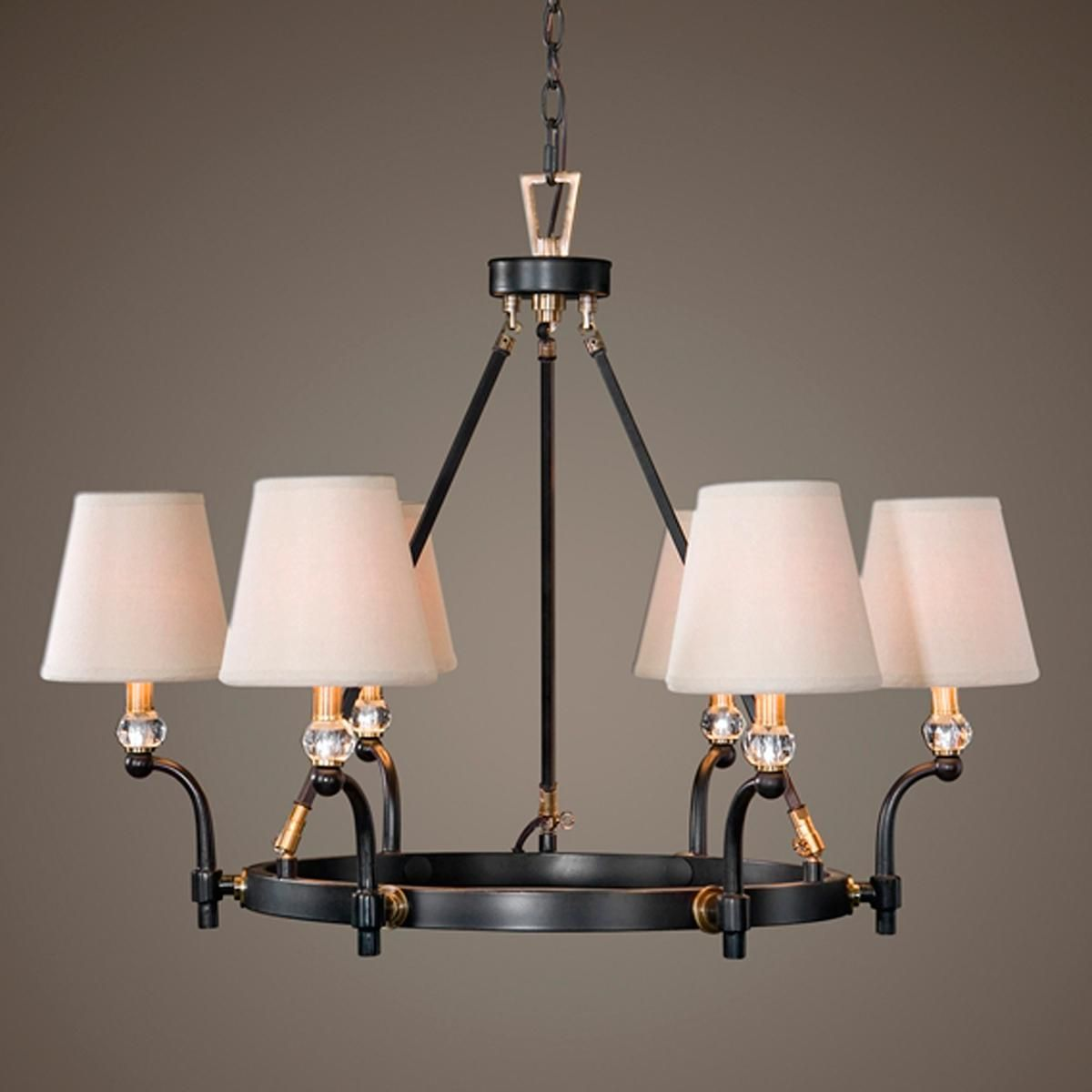 Contemporary mixed metals chandelier this contemporary mixed this transitional chandelier also features six hardback beige fabric shades that are included uttermost at nickolinas arubaitofo Gallery
