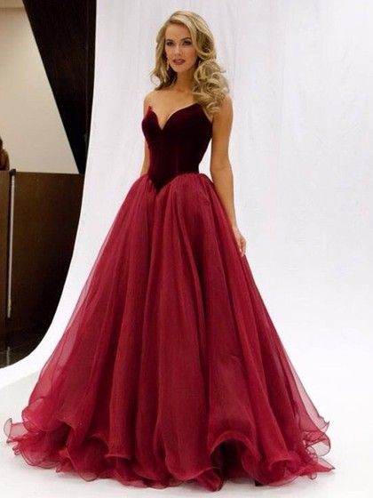 Princess V-neck Burgundy Organza Floor-length Ruffles Famous Prom ...