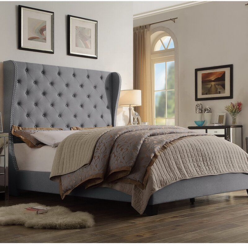 Stowthewold Tufted Solid Wood And Upholstered Standard Bed Grey Bed Frame Upholstered Panel Bed Painted Bedroom Furniture