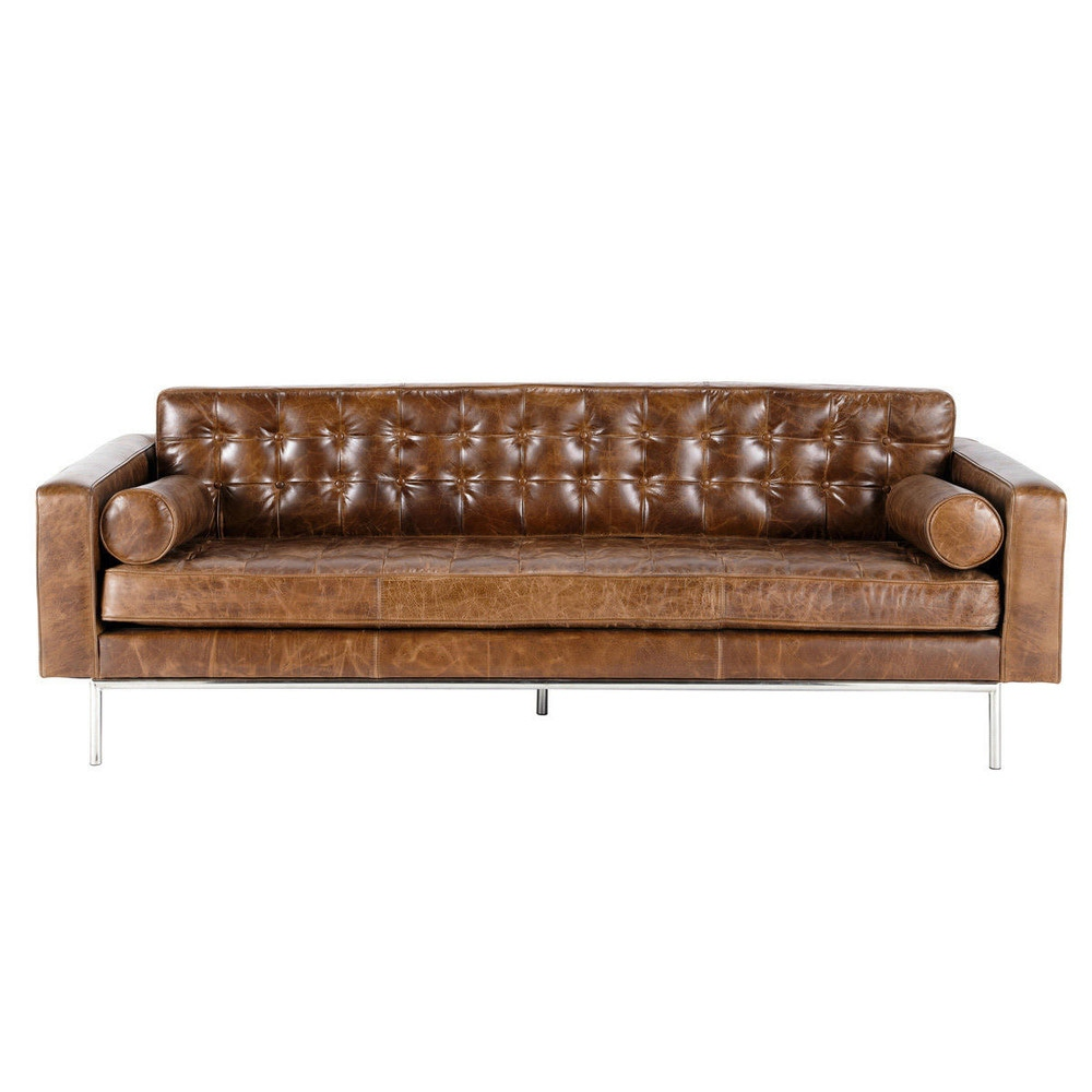 Superieur 3 Seater Leather Button Sofa In Brown