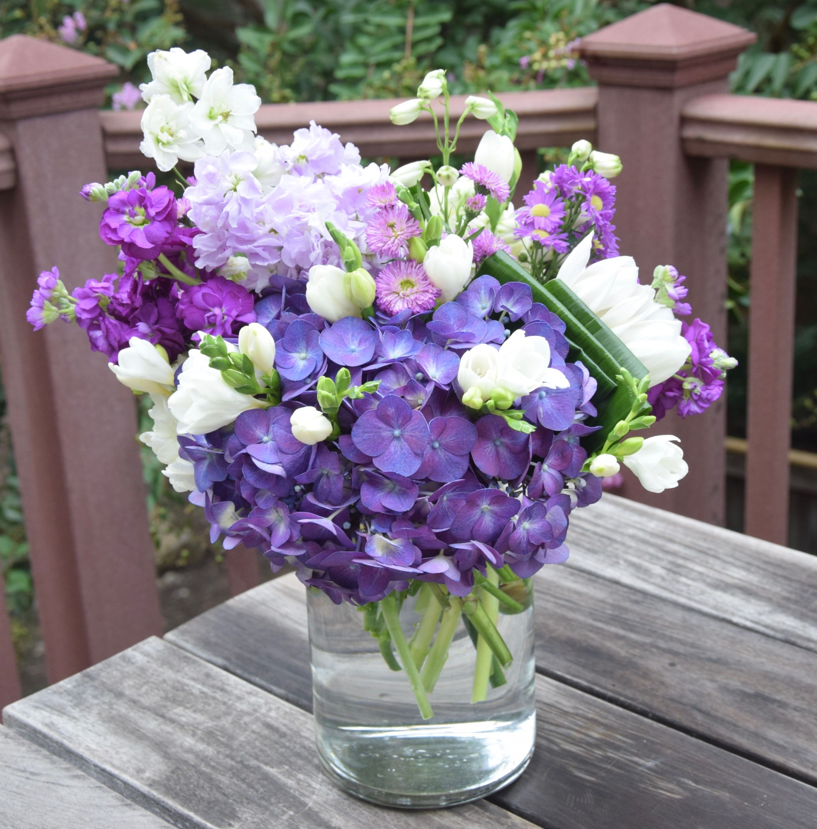 Flower bouquet in the shades of purple and white. Flower