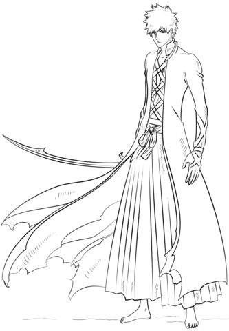 Ichigo Kurosaki Coloring Page From Bleach Category Select From 24848 Printable Crafts Of Cartoons Bleach Drawing Anime Character Drawing Bleach Anime Ichigo