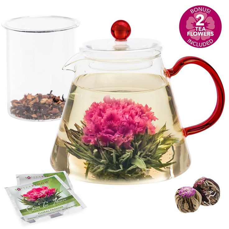 Amore 34 oz contemporary glass teapot with red handle