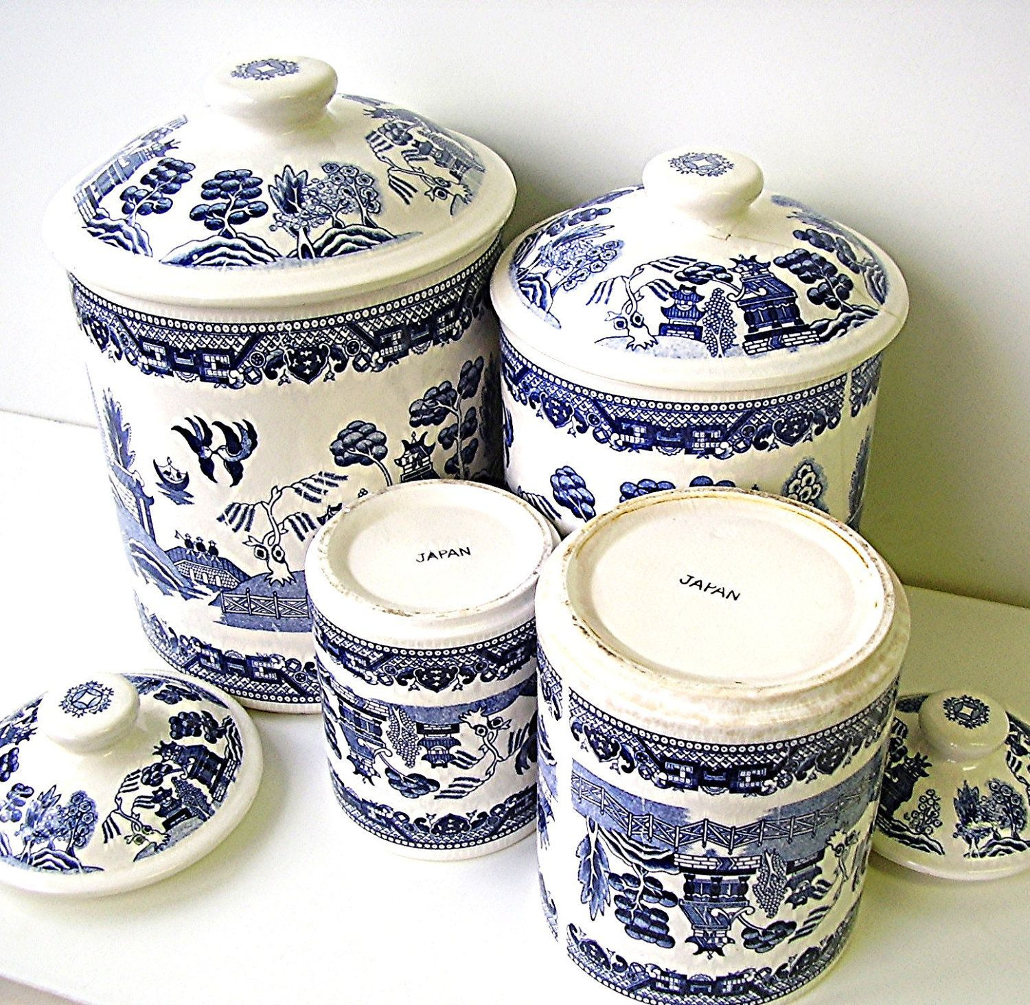 Vintage Blue Willow China Canister Set Blue and White Ironstone ...