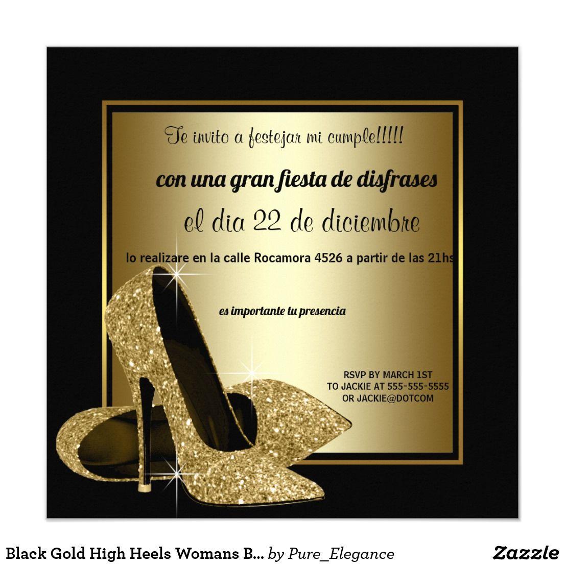 Invitación Fiesta Del Cumpleaños Del Oro De La Mujer Negra