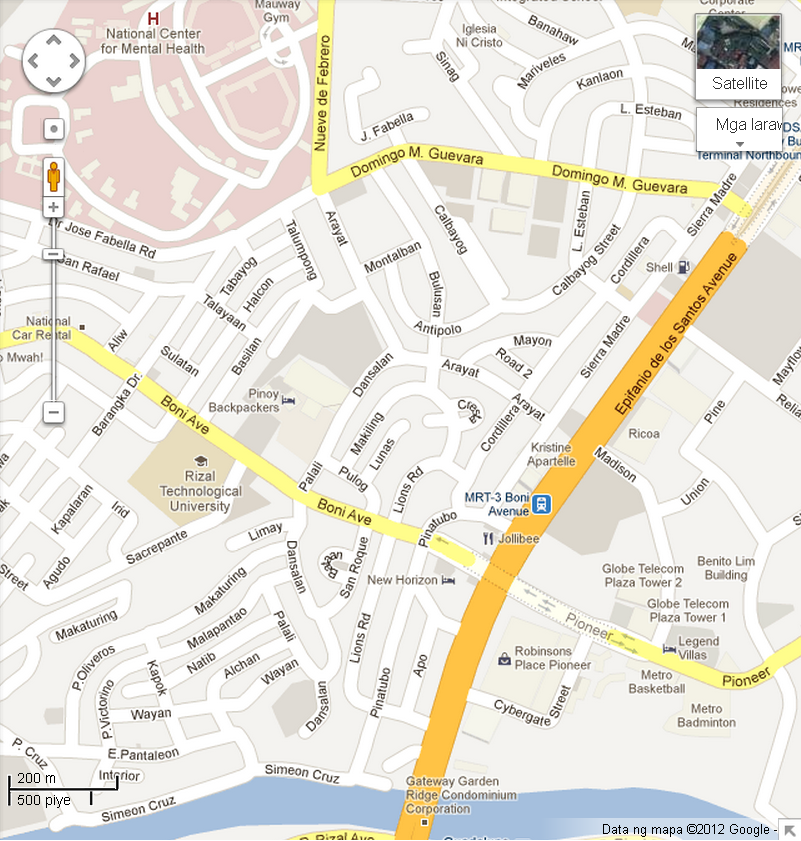 Boni Avenue Station To Mandaluyong City Hall L To Pioneer R - Mandaluyong map