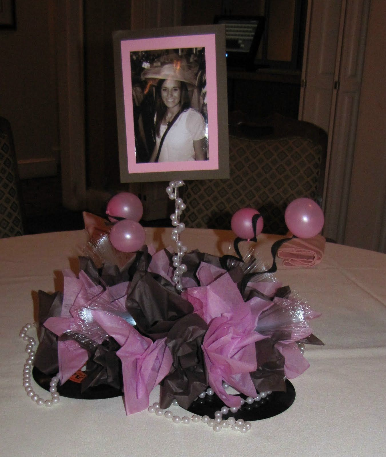 Sweet 16 Table Decoration Ideas sweet 16 centerpiece with feathers Simple Cute Centerpiece Could Put A Different Picture Of Her At Different Ages On Each