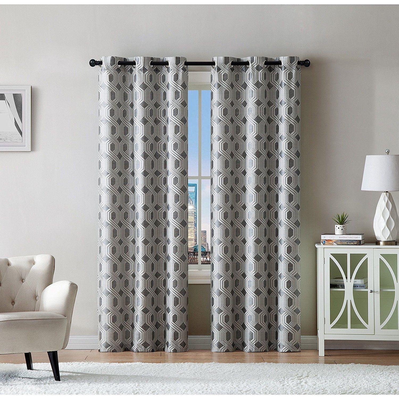 Luxury window coverings  girls silver grey jacquard moroccan window curtain  inch pair
