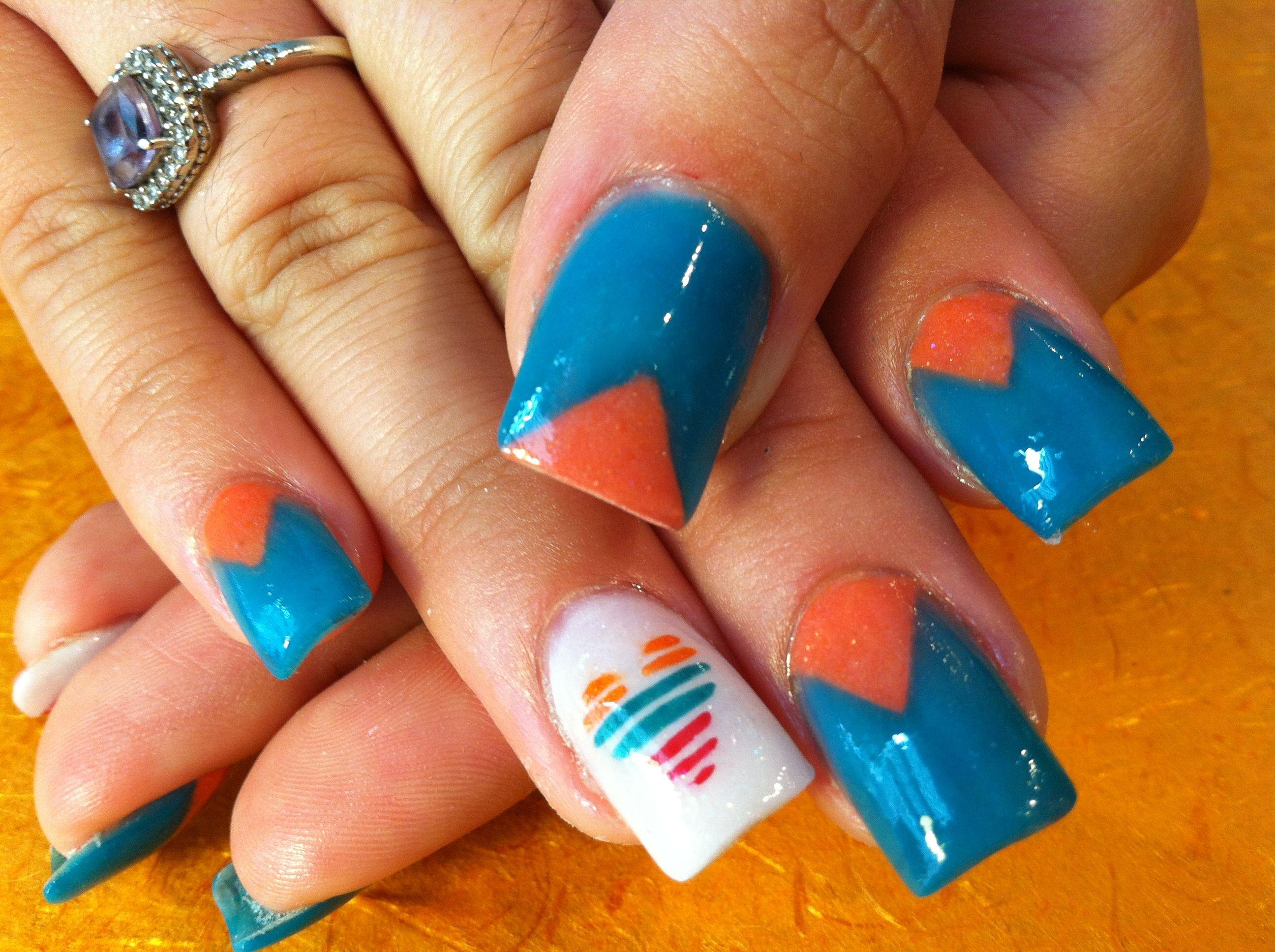 Full Color Acrylic With Nail Design Nail Designs Nails Nail Colors