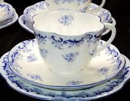 Image result for Shelley England 12pcs Heavenly Blue Tea Cup and Saucer Trio Set