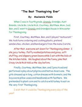 0010 The Best Thanksgiving Ever Personal Narrative Sample