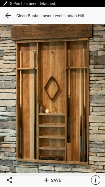Reclaimed wood pool cue rack basement concepts for Cue rack plans