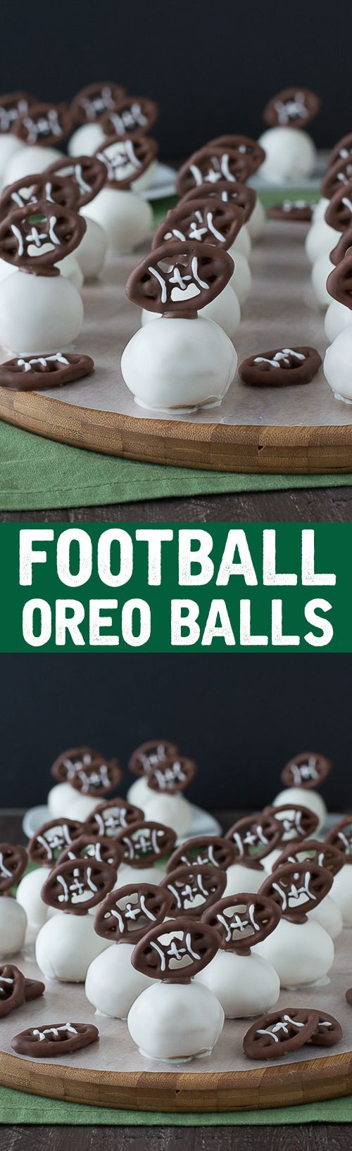 Football Oreo Balls - golden oreo balls dipped in white chocolate and topped with football pretzels! Make these for game day!