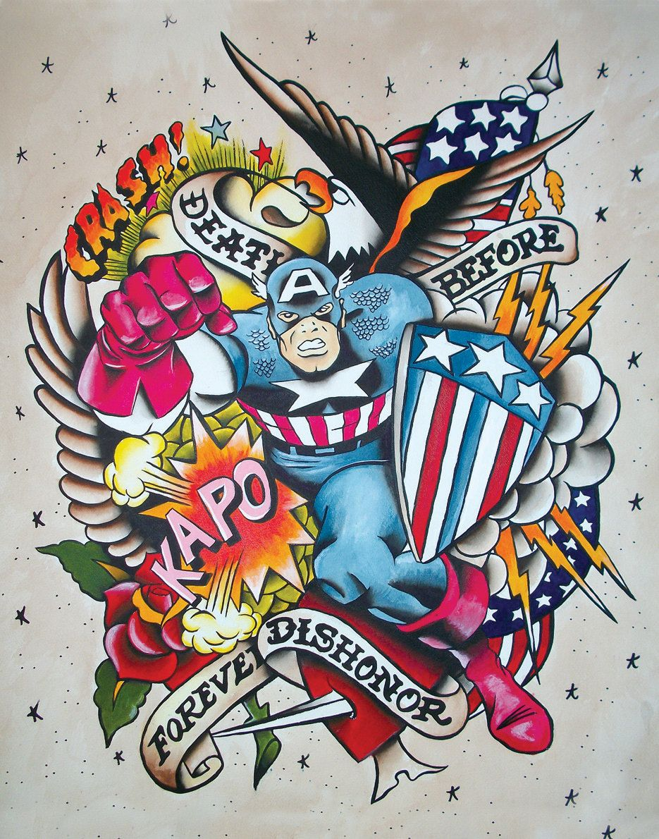 Texas letters with clown faces tattoos by stevie garza - Vintage Style Traditional American Captain America Tattoo Flash Painting Print Poster